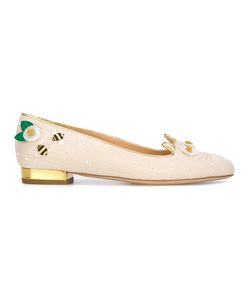 Charlotte Olympia | Kitty Slippers 37.5 Linen/Flax/Calf Leather/Leather