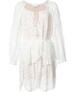 Zimmermann | Longsleeved Tiered Lace Dress 2 Polyester/Silk