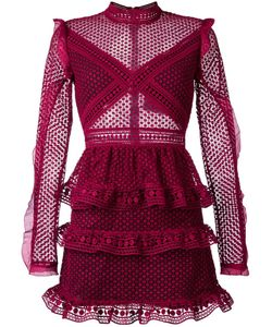 SELF-PORTRAIT | Ruffled Sheer Dress 12 Polyester/Spandex/Elastane