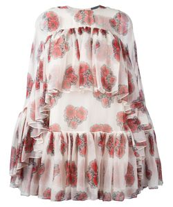 Alexander McQueen | Poppy Print Cape Dress 38 Silk