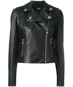 Versus | Perforated Detailing Biker Jacket Size 42 Lamb Skin/Viscose/Spandex/Elastane/Polyester