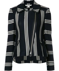 Veronica Beard | Striped Pattern Biker Jacket Small Cotton