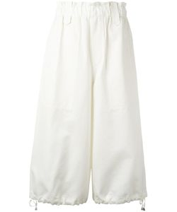 Helmut Lang | Wide-Legged Cropped Trousers Medium Cotton/Silk