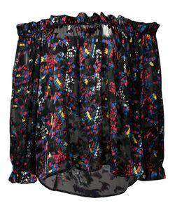 Saloni | Off-Shoulders Sheer Blouse 6 Silk/Rayon