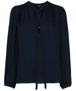 Theory | Tie Neck Shift Blouse Xs Silk