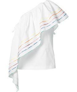 Rosie Assoulin | One Shoulder Rainbow Blouse Medium Cotton
