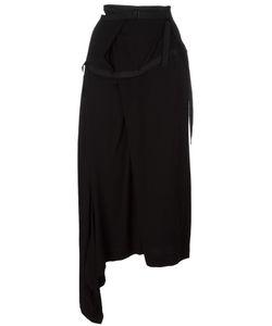 YOHJI YAMAMOTO VINTAGE | Asymmetric Grosgrain Trim Skirt Small