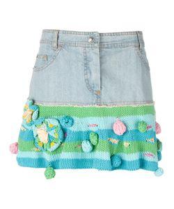 Christian Dior Vintage   Short Denim And Knit Skirt 36