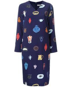 TARO HORIUCHI | Vase Print V-Neck Dress Polyester