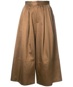 Cityshop | Wide-Leg Cropped Trousers 38 Cotton