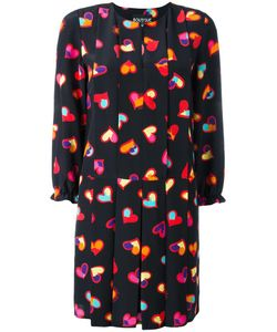 BOUTIQUE MOSCHINO | Heart Print Pleated Dress 44 Silk/Polyester