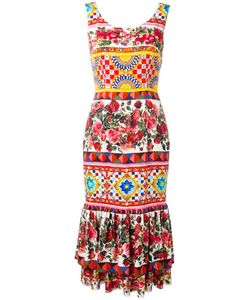 Dolce & Gabbana | Mambo Print Peplum Dress 46 Silk/Spandex/Elastane