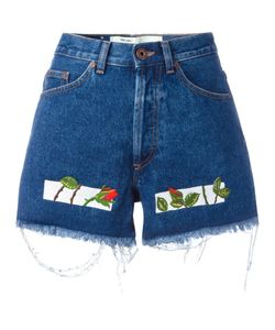 OFF-WHITE | Embroidered Denim Shorts 26 Cotton/Polyester