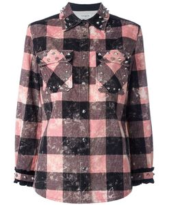 COACH | Checked Studded Shirt Jacket 2 Cotton/Leather/Viscose