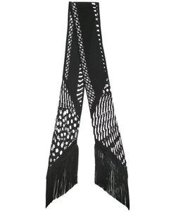 ROCKINS | Guinea Skinny Fringed Scarf Silk