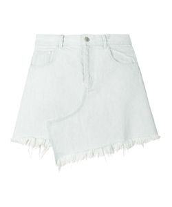 Sandy Liang | Asymmetric Frayed Denim Skirt 38 Cotton