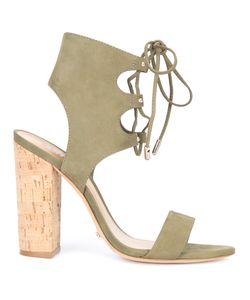 SCHUTZ   Cruz Lace-Up Sandals 7.5 Suede/Leather/Cork
