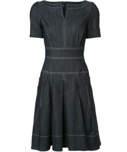 Carolina Herrera | Denim Short Sleeve Dress 14 Cotton