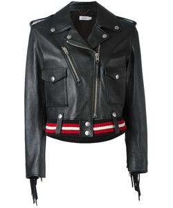 COACH | Striped Detail Biker Jacket 0 Leather/Cotton/Viscose/Spandex/Elastane