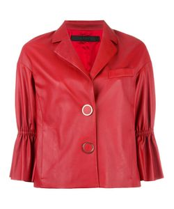 Drome | Three-Quarters Ruffled Sleeves Jacket Small Leather/Acetate/Cupro