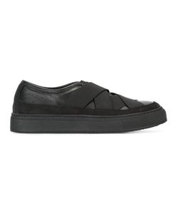 Neil Barrett | Cross-Over Strap Sneakers 40 Calf Leather/Leather/Rubber/Cotton