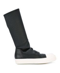 Rick Owens   Sock Hi-Top Boots 39 Calf Leather/Nylon/Rubber