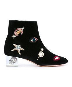 Alexander McQueen | Skull Heel Ankle Boots 37.5 Velvet/Leather/Metal