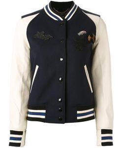 COACH | Patch-Embellished Varsity Jacket Size 2 Wool/Nylon/Viscose/Leather