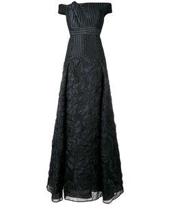 Roland Mouret | Gildon Off-Shoulder Cloque Gown 10 Silk/Linen/Flax/Polyamide