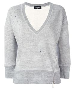 Dsquared2   Cropped Marled Detail Sweatshirt Medium Cotton