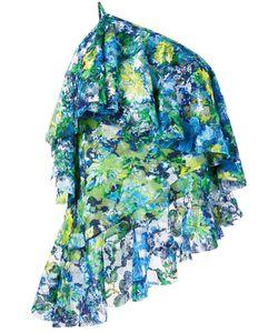 Marques Almeida   Marquesalmeida Print Lace One-Shoulder Top Large Polyester/Polyurethane/Silk