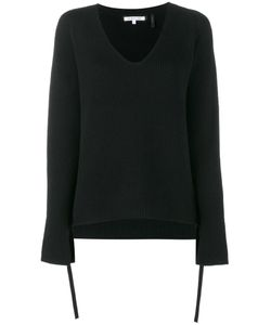 Helmut Lang | Ribbed V-Neck Sweater Xs Wool/Polyester/Cashmere