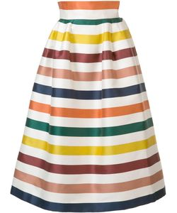 Carolina Herrera | Striped Full Skirt 4 Silk/Cotton