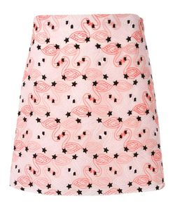 GIAMBA | Flamingo Embroidery Mini Skirt 44 Polyester/Cotton