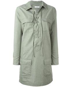 Equipment   Lace-Up Neck Shirt Dress Large Cotton