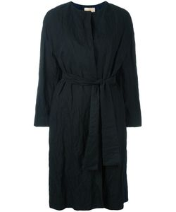 Erika Cavallini | Collarless Belted Coat 38 Cotton/Metal