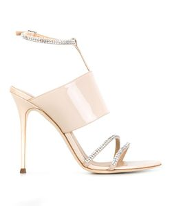 Giuseppe Zanotti Design | T-Strap Sandals 37.5 Leather/Patent Leather