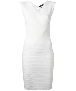 Twin-set | V-Neck Ribbed Fitted Dress Large Viscose/Polyamide/Spandex/Elastane