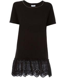 Twin-set   Eyelet Lace T-Shirt Large Cotton/Spandex/Elastane/Polyester
