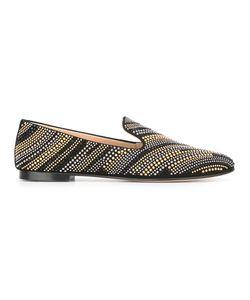 Giuseppe Zanotti Design | Studded Slippers 36 Metal/Crystal/Leather