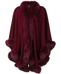 Sofia Cashmere | Trim Detail Oversized Coat Cashmere/Fox Fur