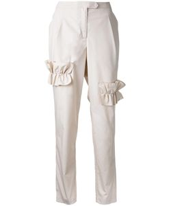 PASKAL | Ruffled Trim Trousers Medium Cotton/Spandex/Elastane