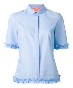 PASKAL   Ruffled Trim Shirt Medium Cotton/Spandex/Elastane