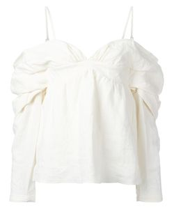 J.W. Anderson | J.W.Anderson Off-Shoulders Blouse 8 Linen/Flax/Cotton/Polyamide