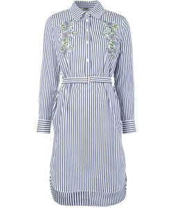 Adam Lippes | Embroidered Long Sleeve Dress 10 Cotton