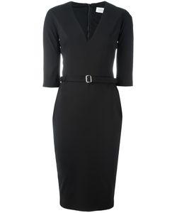 Victoria Beckham | Fitted V-Neck Dress 42 Polyester/Cotton/Spandex/Elastane
