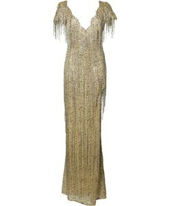 Marchesa | Fringed Fitted Dress 4 Silk/Nylon