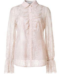 Trina Turk | Sheer Lace Shirt Large Nylon/Cotton