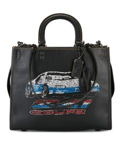 COACH | Car Print Tote Leather/Suede/Cotton