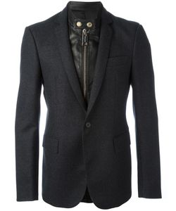 Les Hommes | Layered Effect Mixed Media Blazer 54